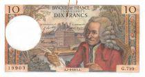 France 10 Francs Voltaire - 07-09-1972 Serial G.799 - AU
