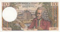 France 10 Francs Voltaire - 08-05-1969 Serial Z.493 - AU