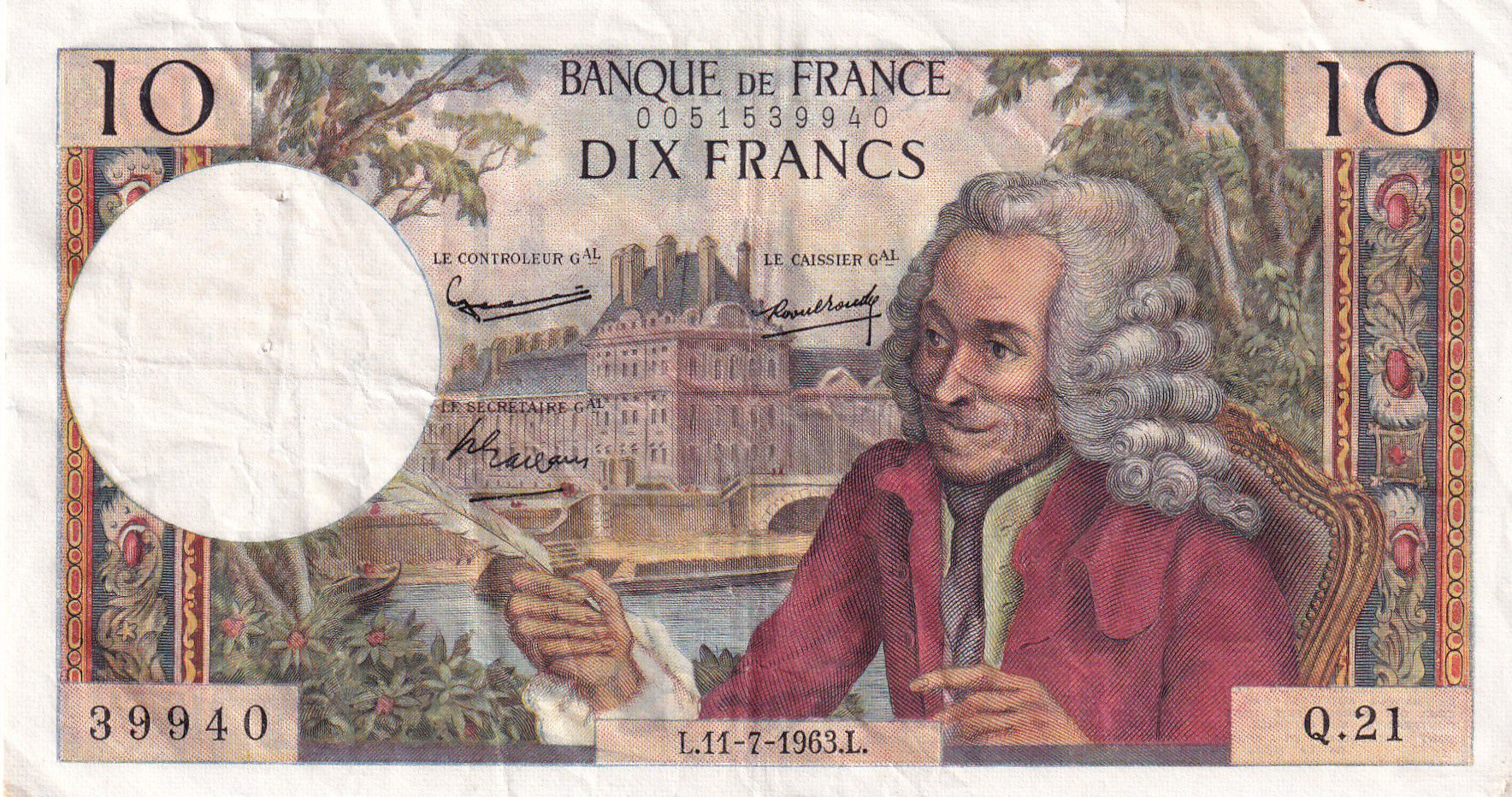 France 10 Francs Voltaire - 11-07-1963 Série Q.21 - TTB