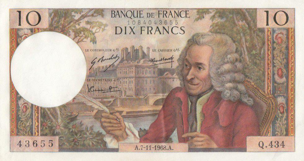France 10 Francs Voltaire - Q.434 - 07-11-1968