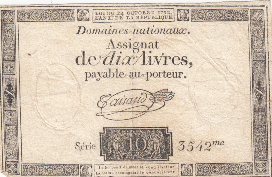 France 10 Livres Black Watermark Republique (24-10-1792) - French Revolution
