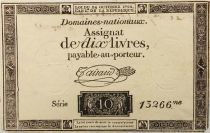 France 10 Livres Black Watermark Republique (24-10-1792) - Sign. Taisaud - Serial 13266 - VF