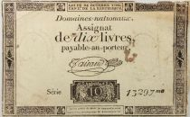 France 10 Livres Black Watermark Republique (24-10-1792) - Sign. Taisaud - Serial 13297 - VG to F