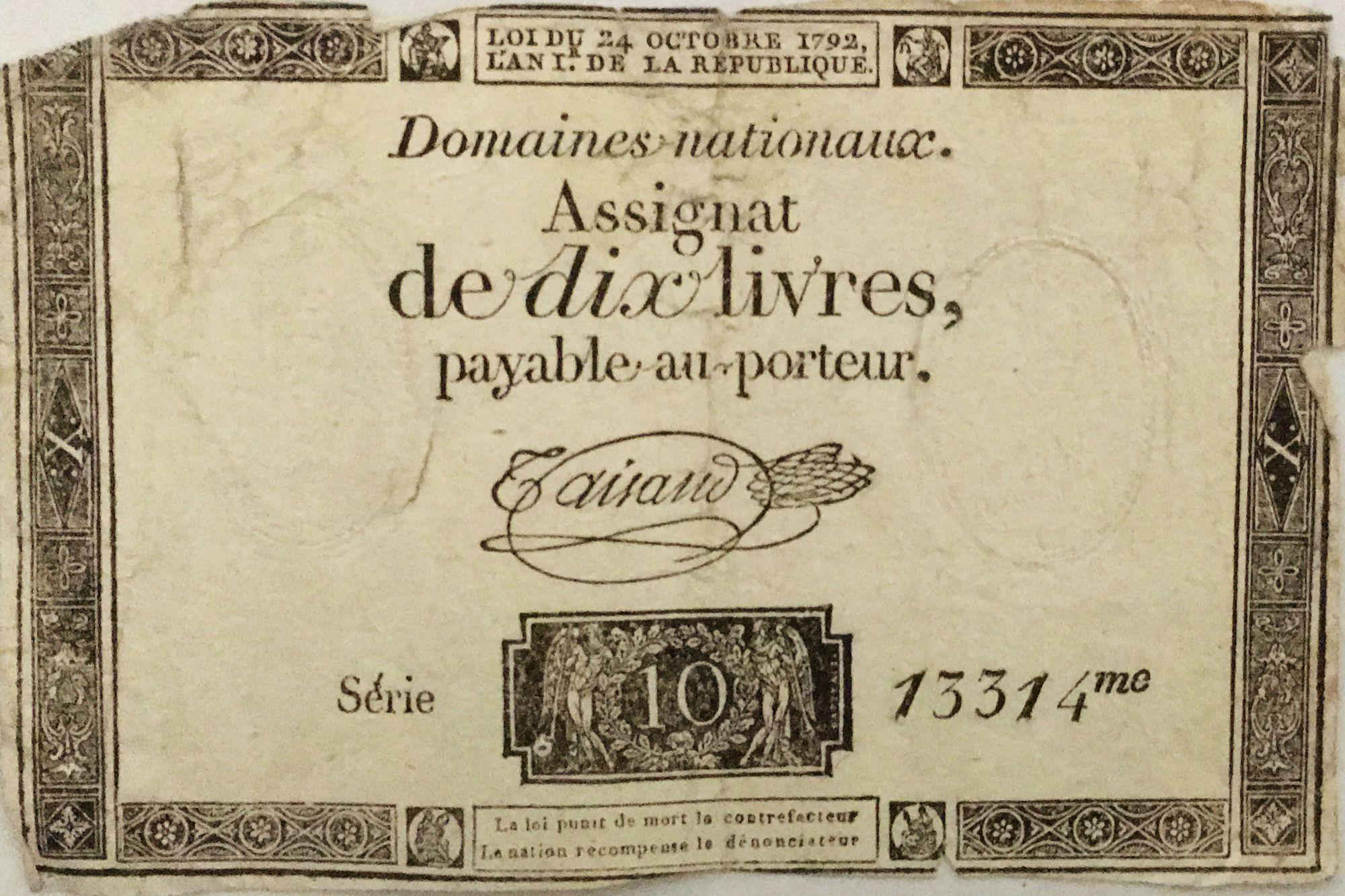France 10 Livres Black Watermark Republique (24-10-1792) - Sign. Taisaud - Serial 13314 - G+