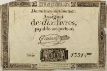 France 10 Livres Black Watermark Republique (24-10-1792) - Sign. Taisaud - Serial 13314 - G+