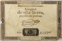 France 10 Livres Black Watermark Republique (24-10-1792) - Sign. Taisaud - Serial 1453 - G+