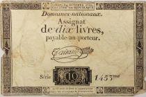 France 10 Livres Black Watermark Republique (24-10-1792) - Sign. Taisaud - Serial 1453 - G+