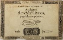 France 10 Livres Black Watermark Republique (24-10-1792) - Sign. Taisaud - Serial 9677 - G+