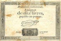 France 10 Livres Filigrane Fleur de Lys inversé