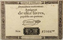 France 10 Livres Noir - Filigrane République (24-10-1792) - Sign. Taisaud - Série 13266 - TTB