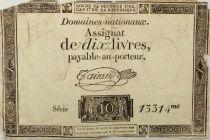 France 10 Livres Noir - Filigrane République (24-10-1792) - Sign. Taisaud - Série 13314 - B+