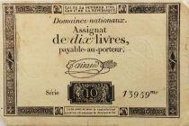 France 10 Livres Noir - Filigrane République (24-10-1792) - Sign. Taisaud - Série 13959 - TB+