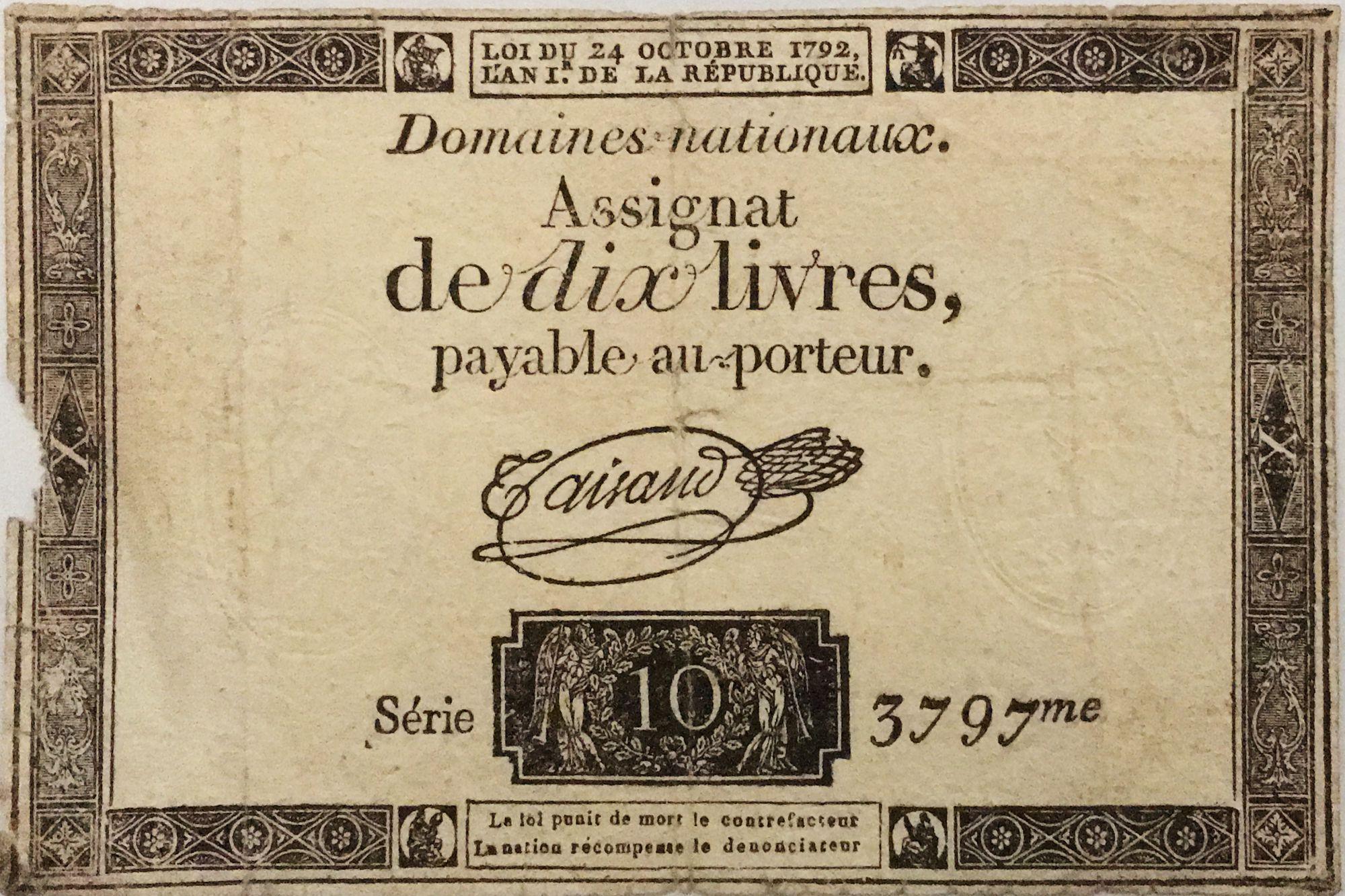 France 10 Livres Noir - Filigrane République (24-10-1792) - Sign. Taisaud - Série 3797 - B+