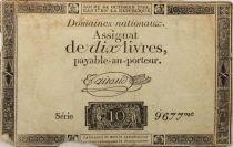 France 10 Livres Noir - Filigrane République (24-10-1792) - Sign. Taisaud - Série 9677 - B+