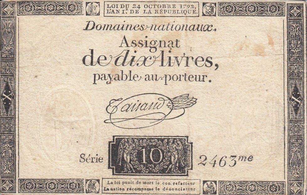 France 10 Livres Noir - Filigrane République (24-10-1792) - Sign. Taisaud