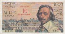 France 10 NF overprint on 1000 Francs, Richelieu - Sérial B.334 - 1957 - VF