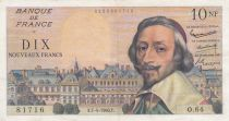 France 10 NF Richelieu - 07-04-1960 Serial O.64 - VF - P.142