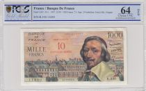 France 10 NF sur 1000 Francs Richelieu - 07-03-1957 PCGS 64OPQ