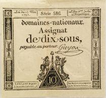 France 10 Sous Femmes, bonnet phygien (23-05-1793) - Sign. Guyon - Série 586 - TTB+