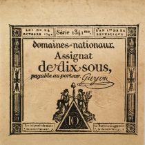France 10 Sous Femmes, bonnet phygien (24-10-1792) - Sign. Guyon - Série 1341 - SPL