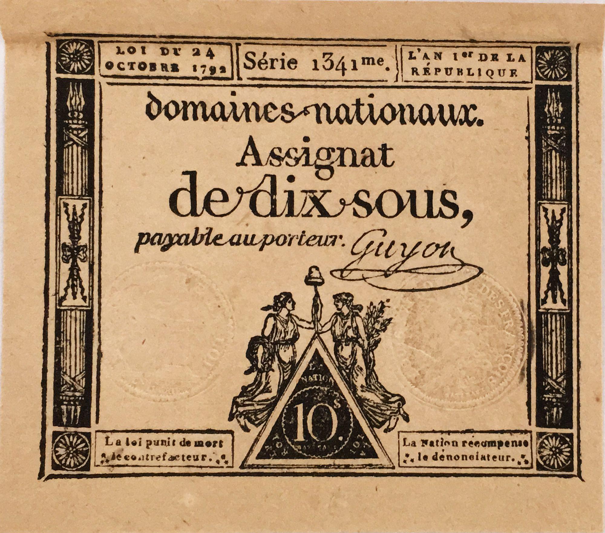 France 10 Sous Femmes, bonnet phygien (24-10-1792) - Sign. Guyon - Série 1341 - SUP