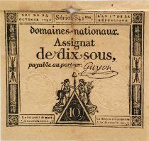 France 10 Sous Femmes, bonnet phygien (24-10-1792) - Sign. Guyon - Série 1341 - TB