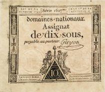 France 10 Sous Femmes, bonnet phygien (24-10-1792) - Sign. Guyon - Série 1627 - SUP+
