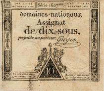 France 10 Sous Femmes, bonnet phygien (24-10-1792) - Sign. Guyon - Série 1627 - TTB