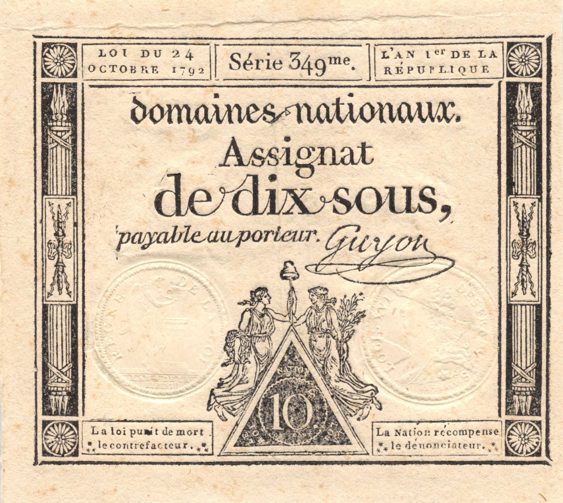France 10 Sous Femmes, bonnet phygien (24-10-1792) - Sign. Guyon - Série 349 - SUP