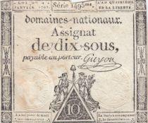 France 10 Sous Noir (04-01-1792) - Sign. Guyon Série 1495