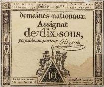 France 10 Sous Noir (24-10-1792) - Sign. Guyon Série 1192 - TB