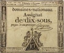 France 10 Sous Noir (24-10-1792) - Sign. Guyon Série 1547 - PTB