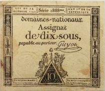 France 10 Sous Noir (24-10-1792) - Sign. Guyon Série 1888 - TB