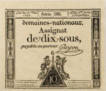 France 10 Sous Women , Liberty cap (23-05-1793) - Sign. Guyon - Serial 586 - AU