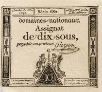 France 10 Sous Women , Liberty cap (23-05-1793) - Sign. Guyon - Serial 682 - VF+
