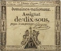 France 10 Sous Women (24-10-1792) - Sign. Guyon Serial 1547 - VG to F