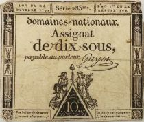 France 10 Sous Women (24-10-1792) - Sign. Guyon Serial 283 - VG to F