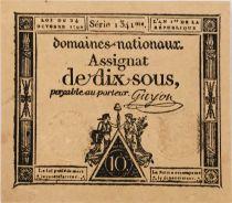 France 10 Sous Women, Liberty cap (24-10-1792) - Sign. Guyon - Serial 1341 - aUNC