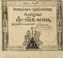 France 10 Sous Women, Liberty cap (24-10-1792) - Sign. Guyon - Serial 1627 - F to VF