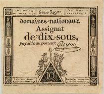 France 10 Sous Women, Liberty cap (24-10-1792) - Sign. Guyon - Serial 349 - AU