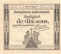 France 10 Sous Women, Liberty cap (24-10-1792) - Sign. Guyon - Serial 349 - XF