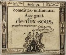 France 10 Sous Women seated with Liberty cap on pole (23-05-1793) - Sign. Guyon - VG to F