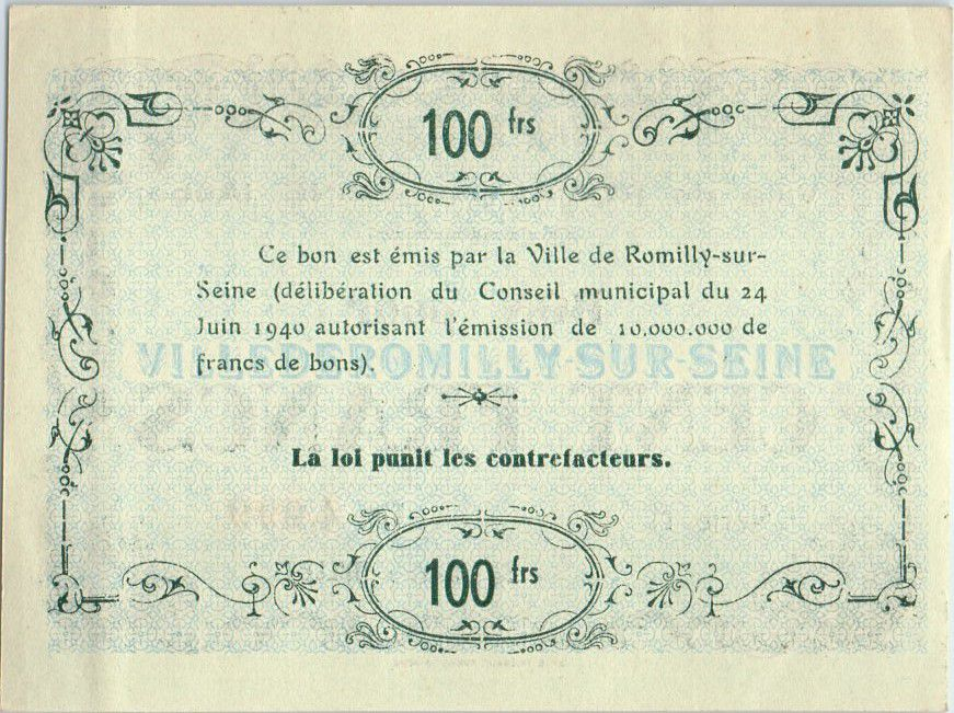 France 100 F , Romilly-sur-Seine Serial A