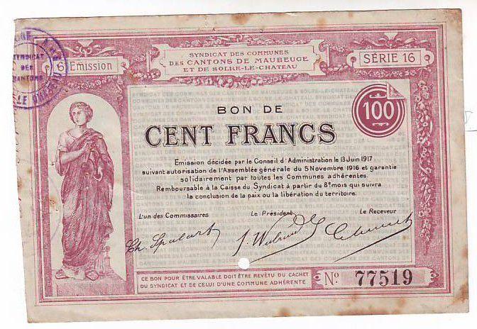 France 100 F Maubeuge-Et-Solre Perforé