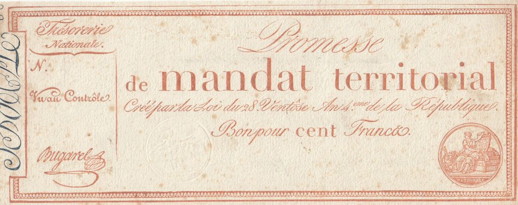 France 100 Francs 1796 sans série - Vérificateur