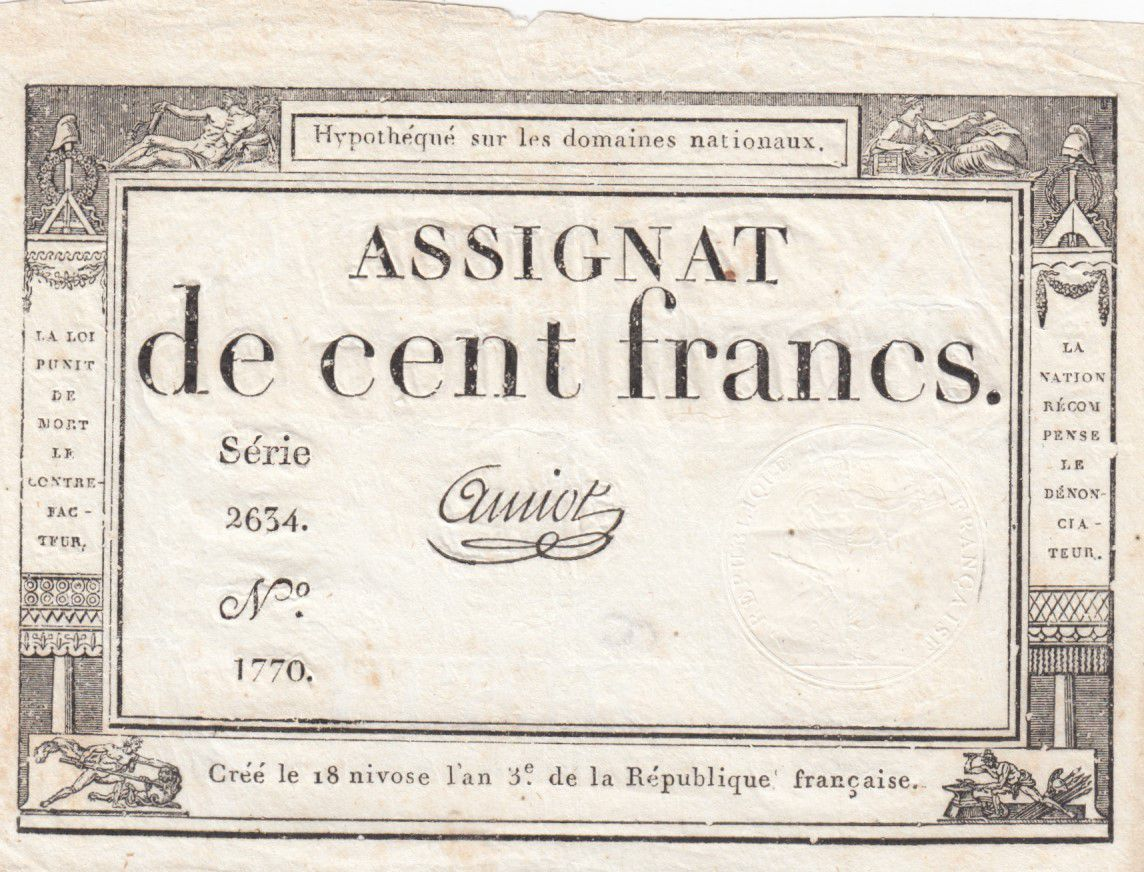 France 100 Francs 18 Nivose An III - 7.1.1795 - Sign. Amiot