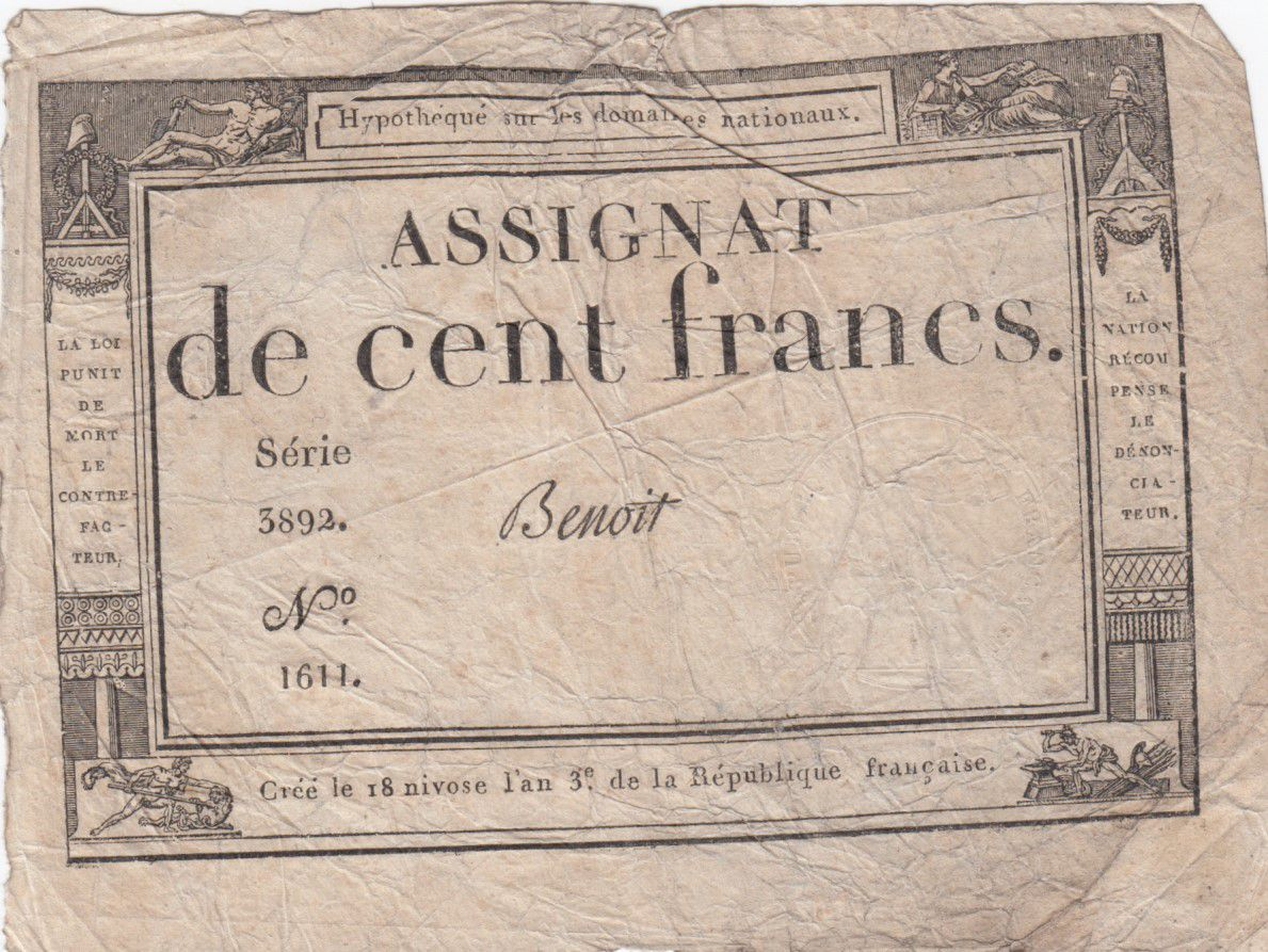 France 100 Francs 18 Nivose An III - 7.1.1795 - Sign. Benoit