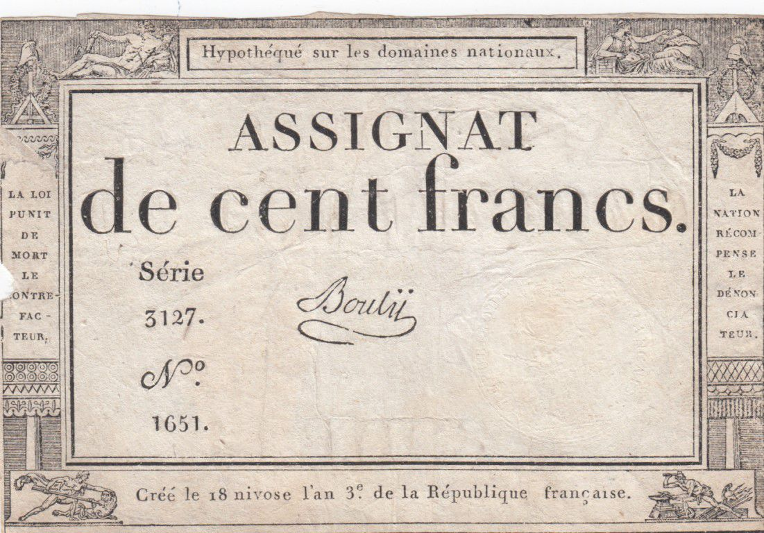 France 100 Francs 18 Nivose An III - 7.1.1795 - Sign. Bouly