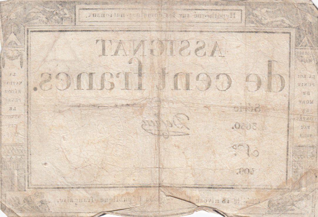 France 100 Francs 18 Nivose An III - 7.1.1795 - Sign. De Caen