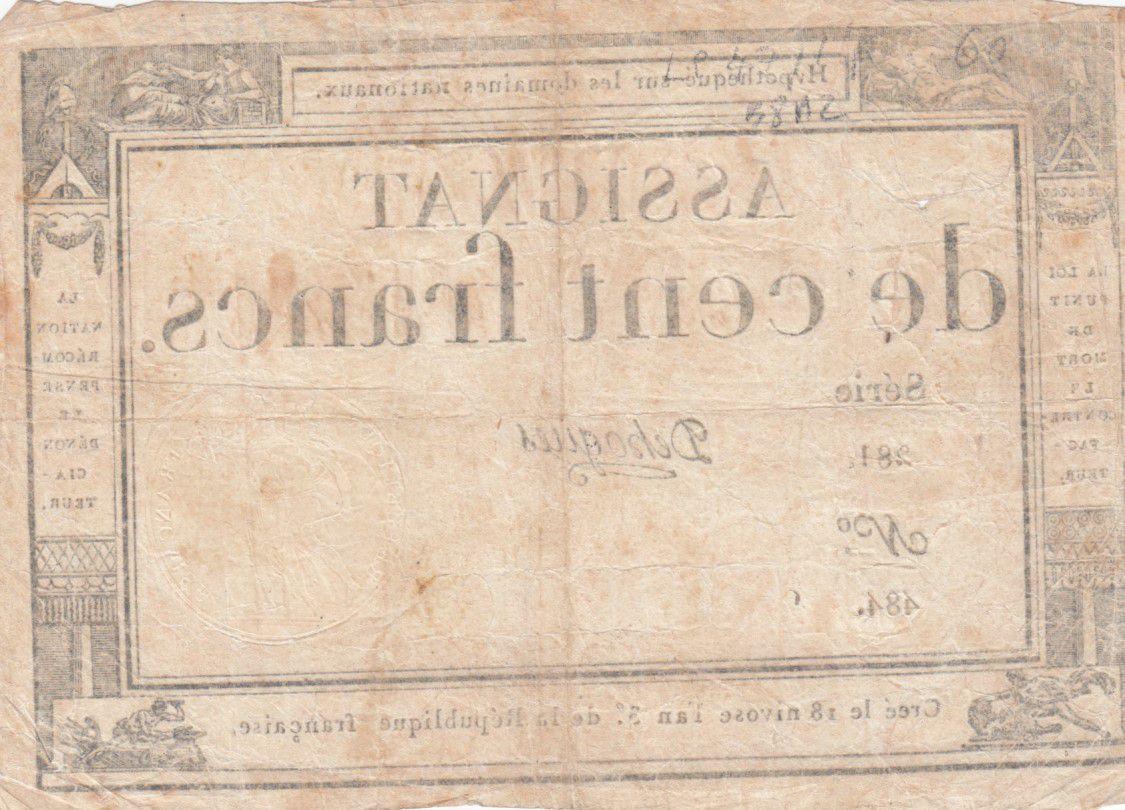 France 100 Francs 18 Nivose An III - 7.1.1795 - Sign. Dehogues Série 281